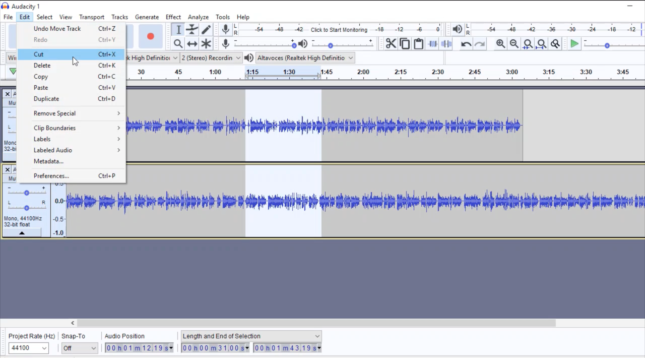 move audio in audacity